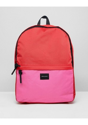 ASOS DESIGN Backpack In Pink And Red Colour Block - Red