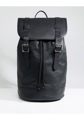 ASOS DESIGN Backpack In Leather In Black With Double Straps - Black
