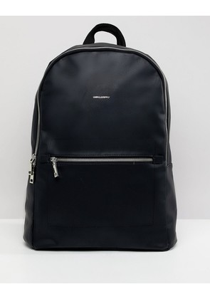 ASOS DESIGN Backpack In Faux Leather In Black With Silver Zips And Foil Emboss - Black