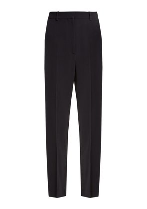High-rise asymmetric-stripe cady trousers