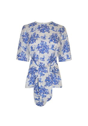 VICTORIA BY VICTORIA BECKHAM Printed Silk Forest Blouse