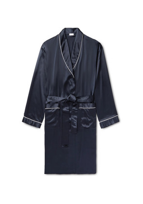 Piped Silk-satin Robe