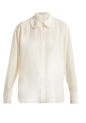 Pleat collar silk crepe de Chine blouse