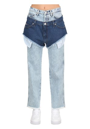 LAYERED TWO TONE DENIM SHORTS & JEANS