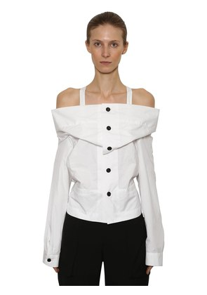 OFF THE SHOULDER RUFFLED POPLIN TOP