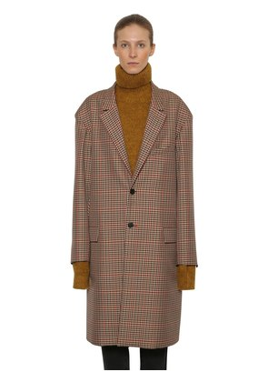 OVERSIZE CHECK WOOL BLEND COAT