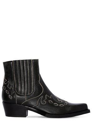 CAL CAVERT LEATHER ANKLE BOOTS