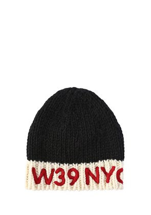 LOGO EMBROIDERED WOOL KNIT BEANIE HAT