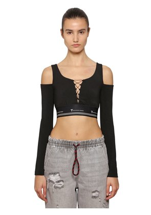 LACE-UP COTTON CROPPED TOP