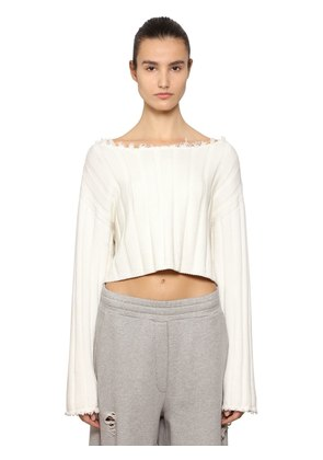 COTTON KNIT CROPPED SWEATER