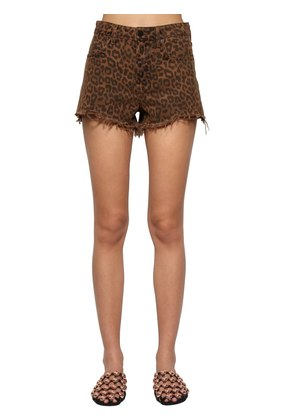 LEOPARD PRINTED COTTON DENIM SHORTS