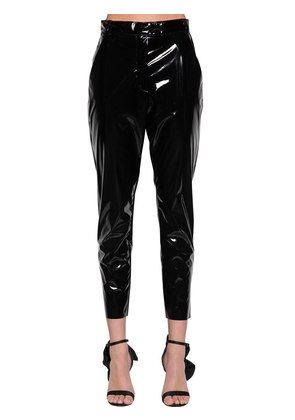 STRETCH FAUX PATENT LEATHER PANTS