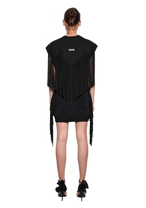 LOGO DETAIL FRINGED SWEATSHIRT DRESS