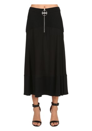 WOOL JERSEY & SILK CREPE LONG SKIRT