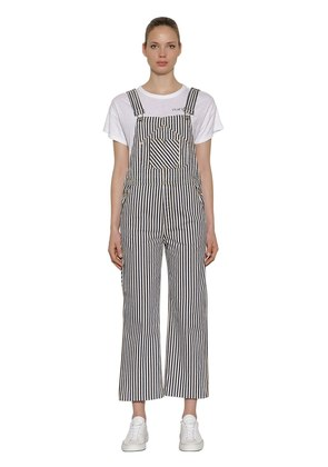 STRIPED VINTAGE COTTON DENIM OVERALLS
