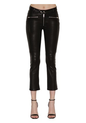 BRAXTON MID RISE ZIPPED LEATHER PANTS