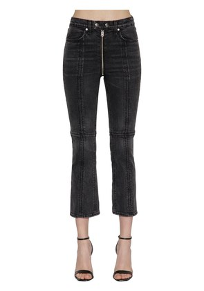 IVER HIGH RISE ZIPPED FLARED DENIM JEANS