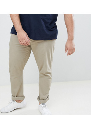BadRhino Plus Straight Fit Chino Trousers With Stretch In Stone - Stone