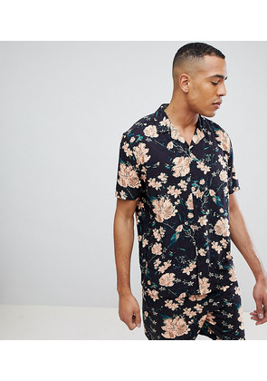 ASOS DESIGN Tall Oversized co-ord Floral Shirt In Black - Black