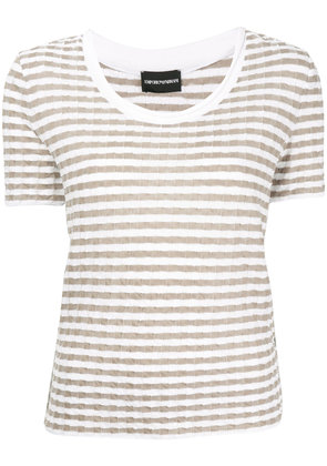 Emporio Armani checked jersey top - White
