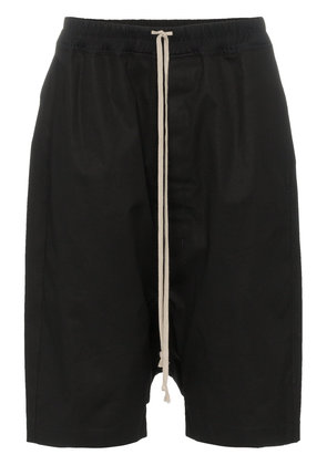Rick Owens Pods drop-crotch cotton blend shorts - Black