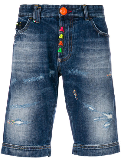 Shorts for Men On Sale, Blue Denim, Cotton, 2017, US 30 - EU 46 US 32 - EU 48 US 34 - EU 50 Philipp Plein
