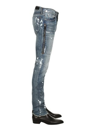 TRAFFORD PAINTED COTTON DENIM JEANS