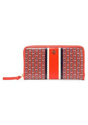 Tory Burch Woman Printed Coated Canvas Wallet Bright Orange Size -