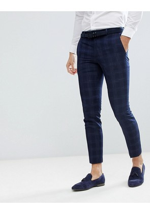 Moss London Skinny Wedding Suit Trousers In Navy Check - Navy ice