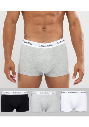 Calvin Klein Low Rise Trunks 3 Pack in Cotton Stretch - Multi