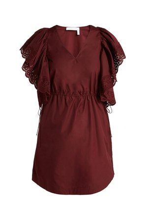 Embroidered sleeve Poplin day dress