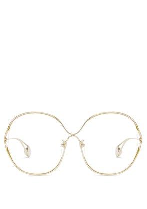 Round-frame metal and faux pearl glasses