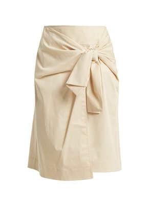 Tie-front wrap skirt