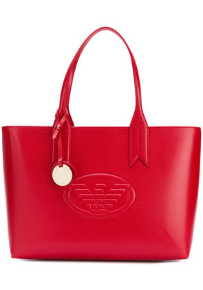 Emporio Armani charm and logo tote bag - Red