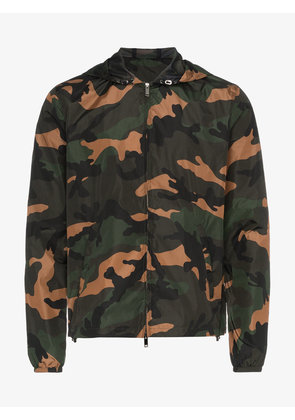 Valentino camouflage print hooded windbreaker jacket