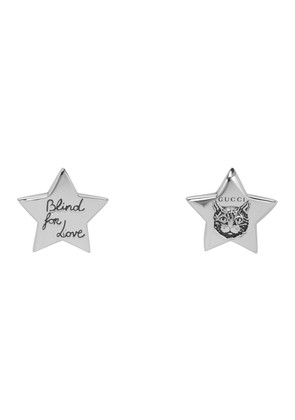 Gucci Silver 'Blind For Love' Star Earrings