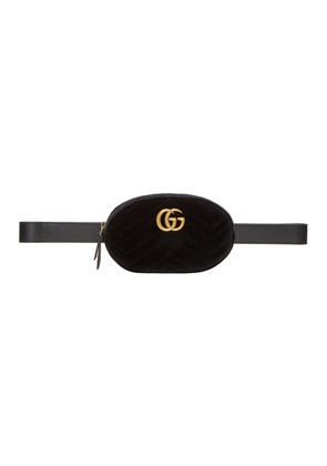 Gucci Black Velvet GG Marmont 2.0 Belt Bag