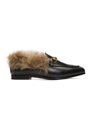 Gucci Black Wool-Lined Jordaan Loafers