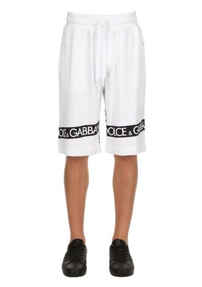 LOGO TAPE PRINTED COTTON SWEAT SHORTS