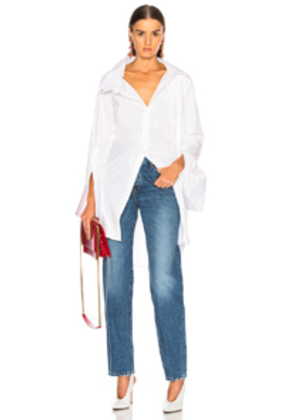 Monse Long Double Collar Shirt in White