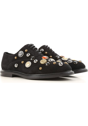 Dolce & Gabbana Brogue Shoes On Sale, Black, Suede leather, 2017, 7.5 8 9