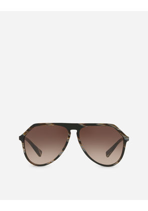 Dolce & Gabbana Sunglasses - PILOT ACETATE SUNGLASSES WITH WITH KEYHOLE BRIDGE BROWN - HORN EFFECT