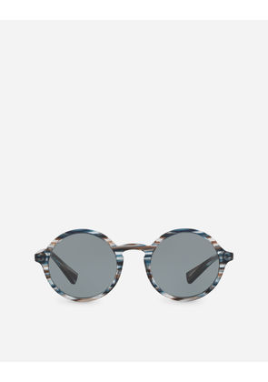 Dolce & Gabbana Sunglasses - ROUND ACETATE SUNGLASSES WITH KEYHOLE BRIDGE STRIPED BLUE AND GREY
