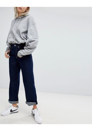 Pull&Bear Wide Leg Denim Jean - Dark blue