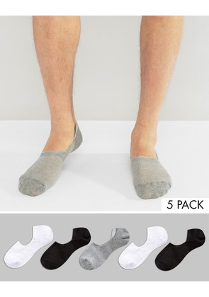 ASOS Invisible Socks In Mini Waffle 5 Pack - Multi