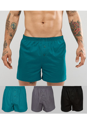 ASOS Woven Boxers In Monochrome & Green 3 Pack - Multi