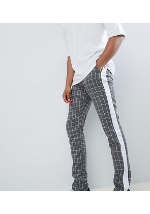 ASOS DESIGN Tall Slim Trousers In Grey Check With Side Stripe - Grey