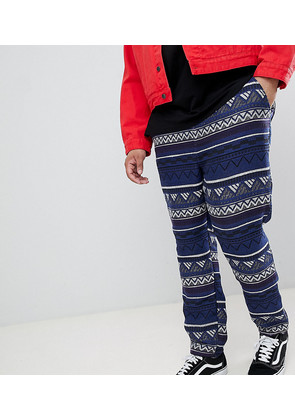 ASOS DESIGN Plus Festival Tapered Trousers In Blue Aztec Jacquard With Elasticated Waist - Blue