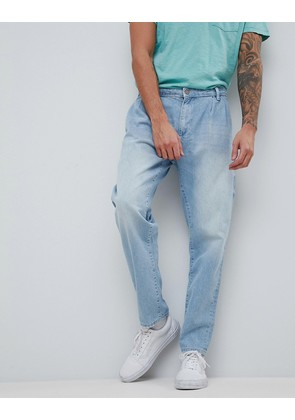 ASOS Double Pleat Jeans In Light Wash Blue - Light wash blue
