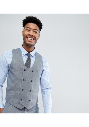 ASOS TALL Wedding Skinny Suit Waistcoat In Airforce Blue Micro Texture - Blue